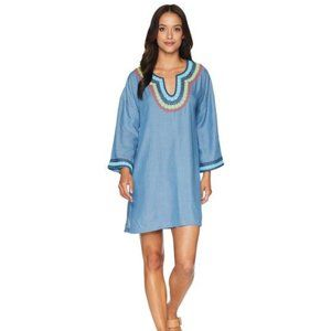 TOMMY BAHAMA Chambray Tencel Embroidered Tunic S